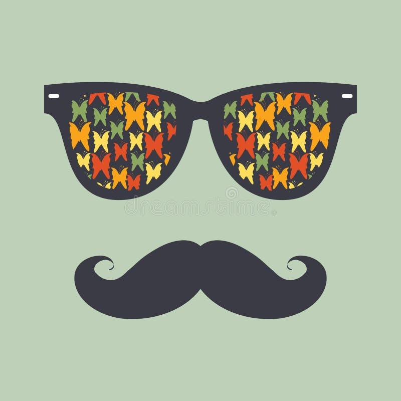 Fond de hippie. Lunettes de soleil et moustache illustration de vecteur