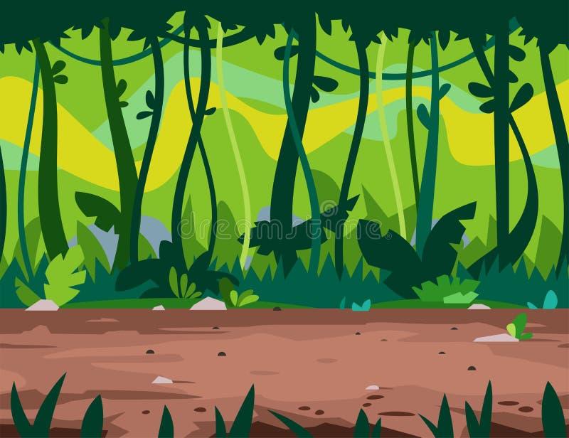 Fond de jeu de chemin de jungle illustration libre de droits