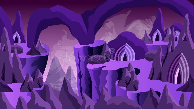 Fond de jeu d'imagination - ville souterraine illustration stock