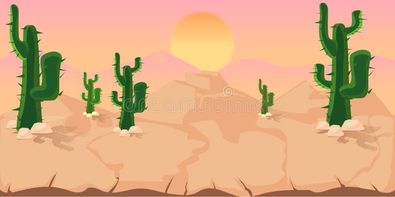 Fond de jeu de cactus illustration stock