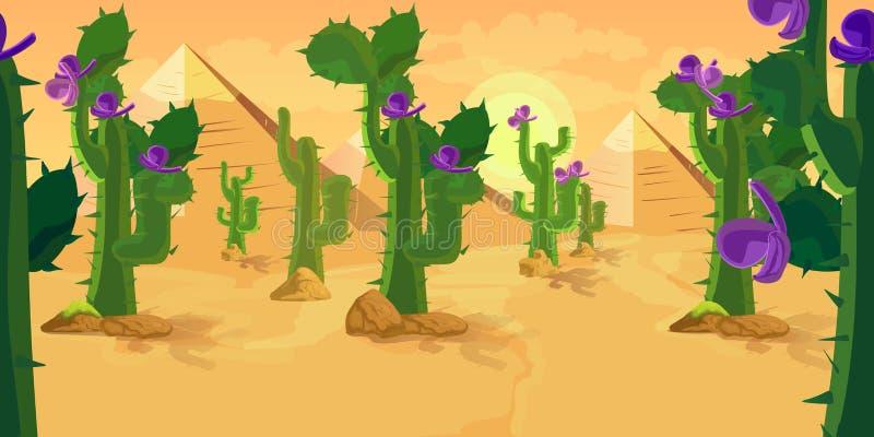 Fond de jeu de cactus illustration de vecteur