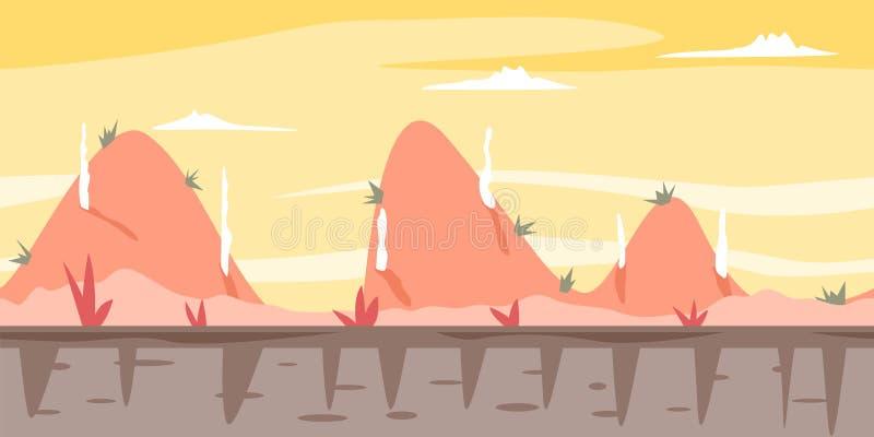 Fond de jeu de collines de bande dessinée illustration de vecteur