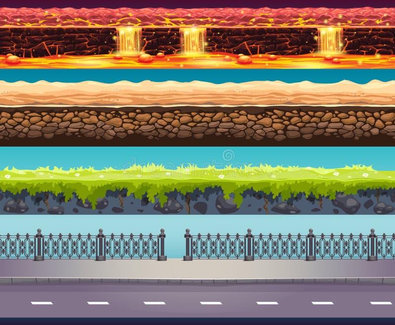 Fond de jeu de vecteur de 4 Tileable illustration de vecteur