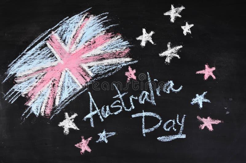 Fond de jour d'Australie, carte nationale de célébration, fond grunge, craie images libres de droits