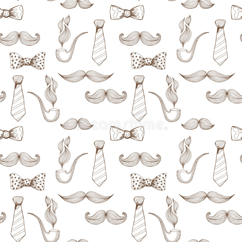 Fond de jour de pères Modèle sans couture de noeud papillon et de moustache Vecteur illustration stock