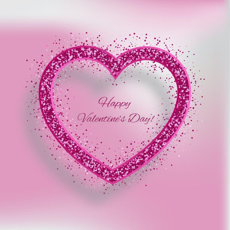 Fond de jour de valentines avec le coeur des scintillements rouges illustration de vecteur
