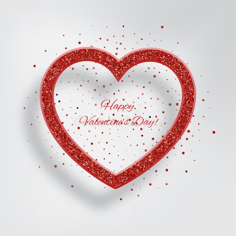 Fond de jour de valentines avec le coeur des scintillements rouges illustration stock
