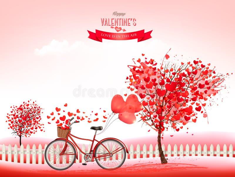 Fond de jour du ` s de Valentine avec arbres en forme de coeur illustration stock