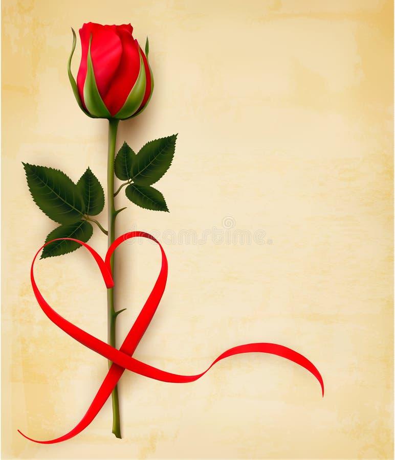 Fond de jour du ` s de Valentine avec le ribon en forme de coeur et une rose V illustration libre de droits