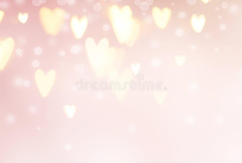Fond de jour du ` s de Valentine Coeurs abstraits sur le contexte rose de vacances illustration de vecteur