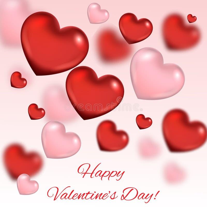 Fond de jour du ` s de Valentine Composition romantique avec des coeurs illustration libre de droits