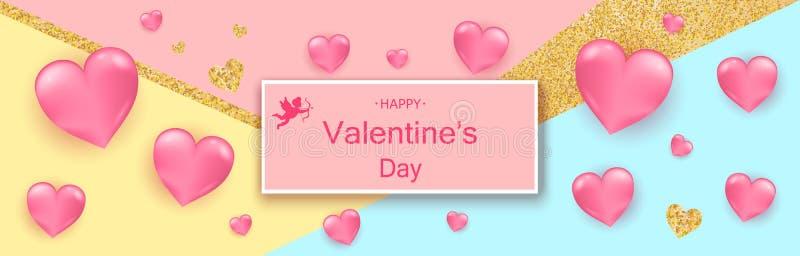 Fond de jour du ` s de Valentine Composition romantique avec des coeurs V illustration stock