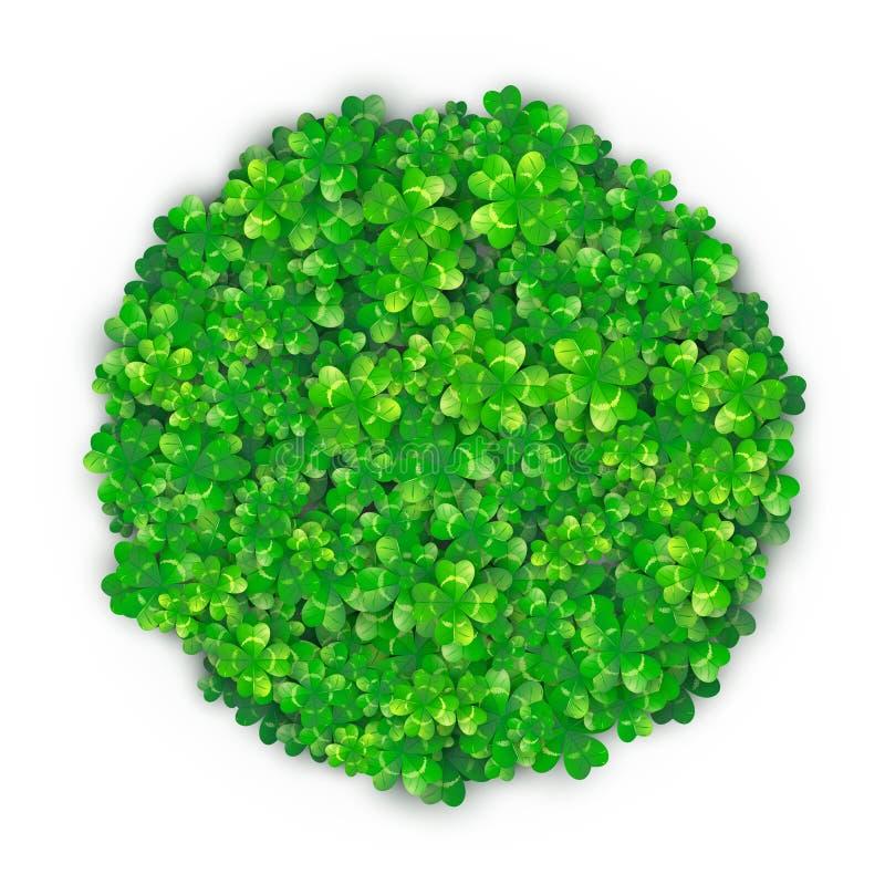 Fond de jour de Patricks dans la forme ronde de cercle avec le tas vert du trèfle quatre illustration de vecteur