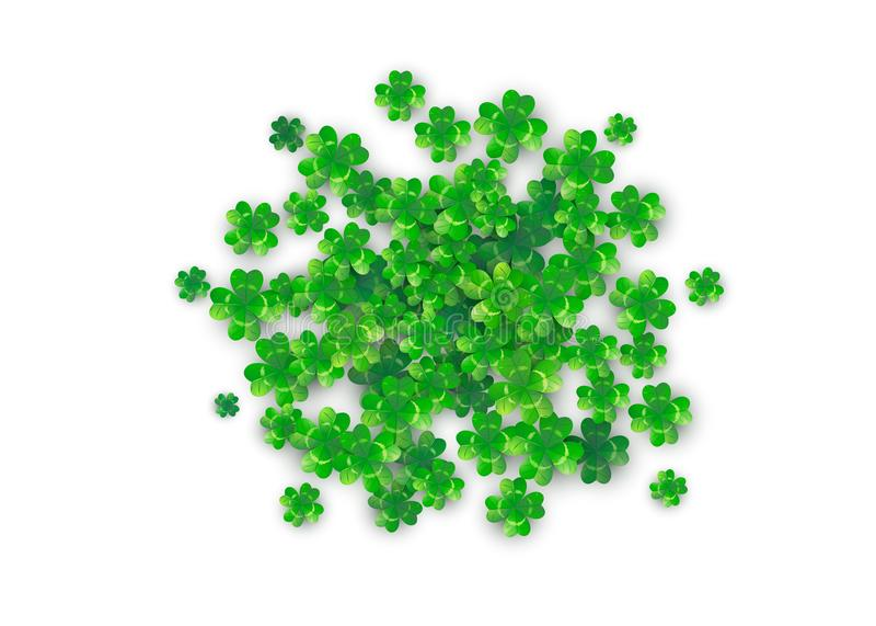 Fond de jour de Patricks dans la forme ronde de cercle avec quatre trèfles verts illustration stock