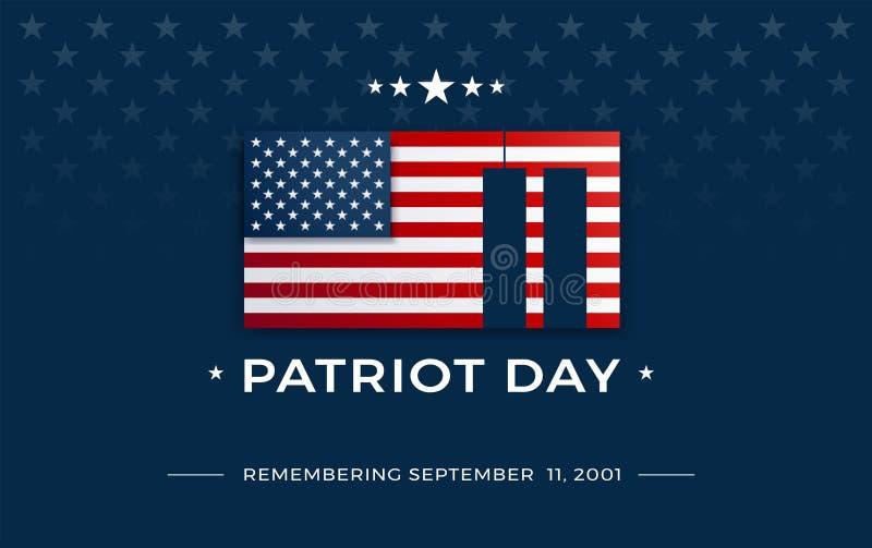 Fond de jour de patriote avec le drapeau des Etats-Unis, le 11 septembre 2001 - patri illustration libre de droits