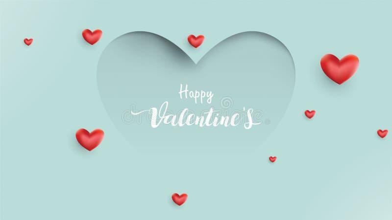 Fond de jour de valentines avec le coeur de ballons et amour approprié au papier peint, insectes, invitation, affiches, brochure, illustration de vecteur