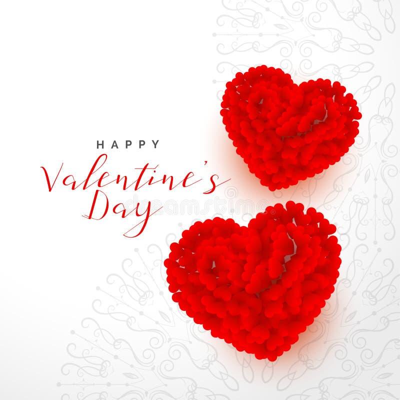 Fond de jour de valentines beau avec deux coeurs roses rouges illustration de vecteur