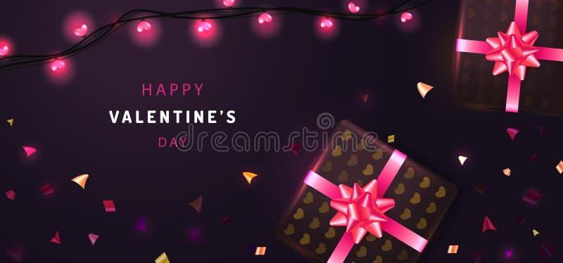 Fond de jour de valentines Composition en vue supérieure avec le boîte-cadeau, la ficelle de guirlande et les confettis colorés I illustration libre de droits