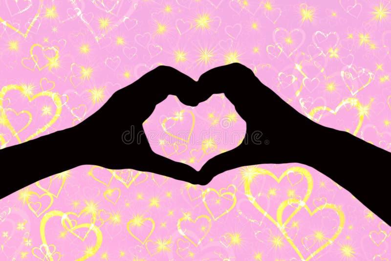 Fond de jour de valentines, silhouette de deux mains faisant à une forme de coeur ensemble un rose et un fond scintillant avec image stock