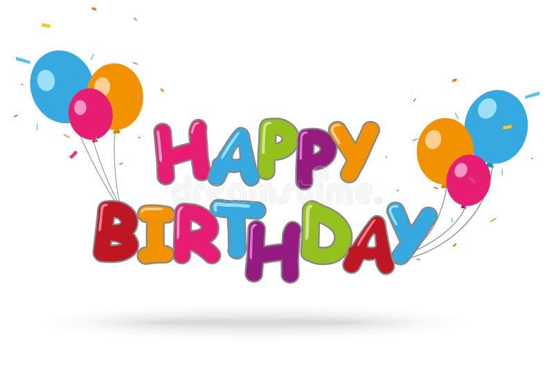 Fond de joyeux anniversaire avec les confettis colorés illustration de vecteur