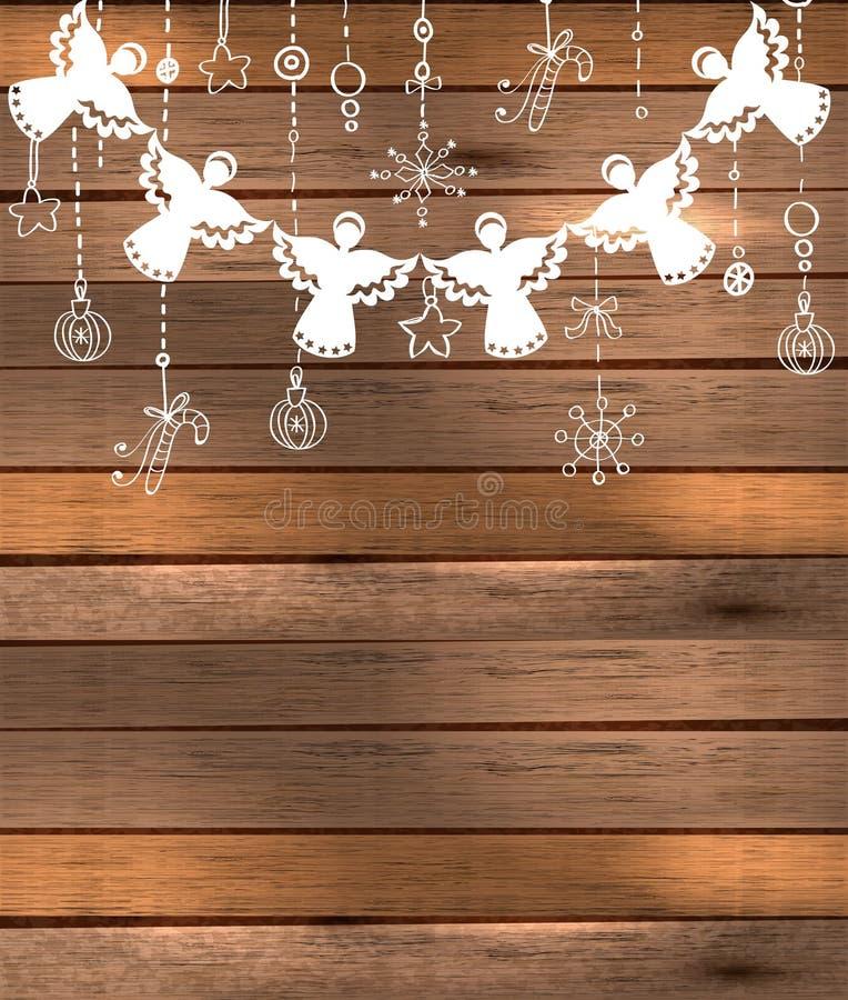 Fond de Joyeux Noël avec des anges et des jouets illustration stock
