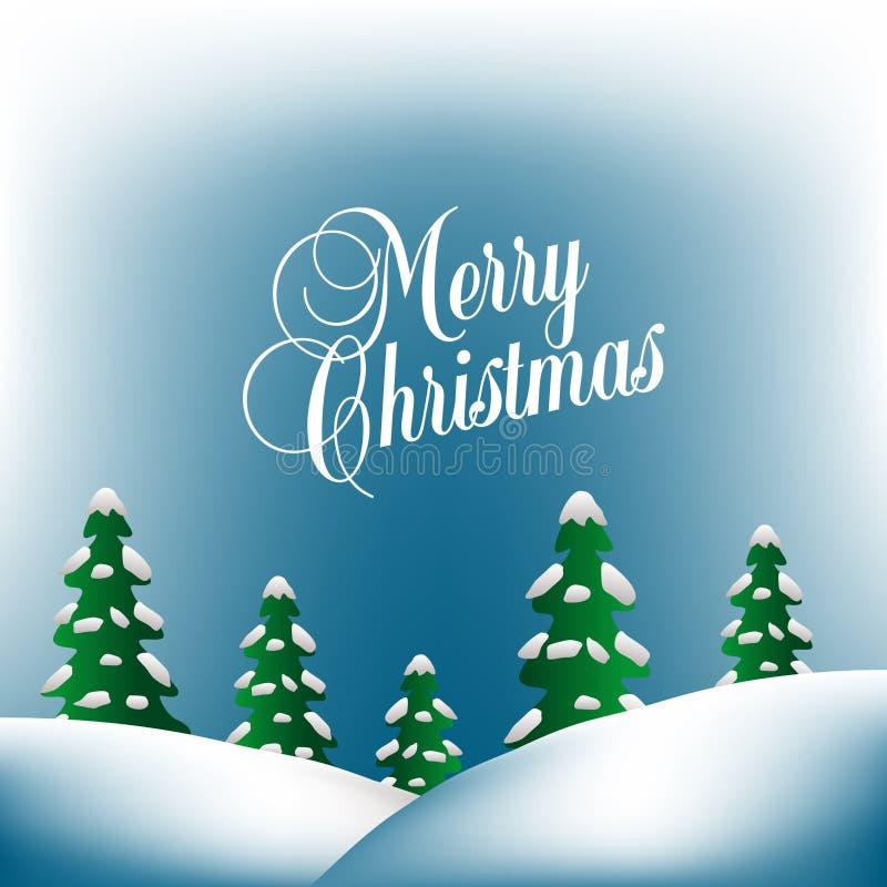 Fond de Joyeux Noël avec des collines illustration libre de droits