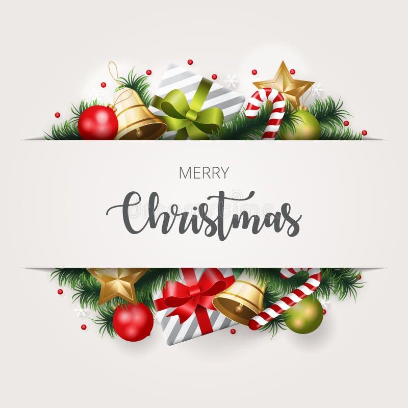 Fond de Joyeux Noël avec l'élément de Noël illustration libre de droits