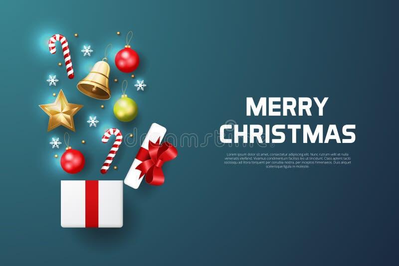 Fond de Joyeux Noël avec l'élément de Noël dans un boîte-cadeau illustration libre de droits