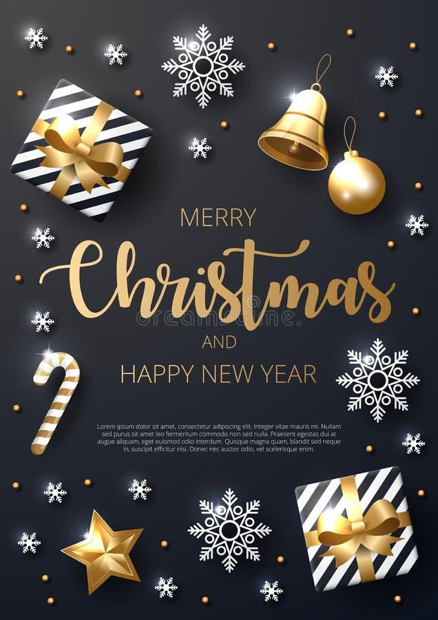 Fond de Joyeux Noël avec de l'or brillant et les ornements blancs illustration de vecteur