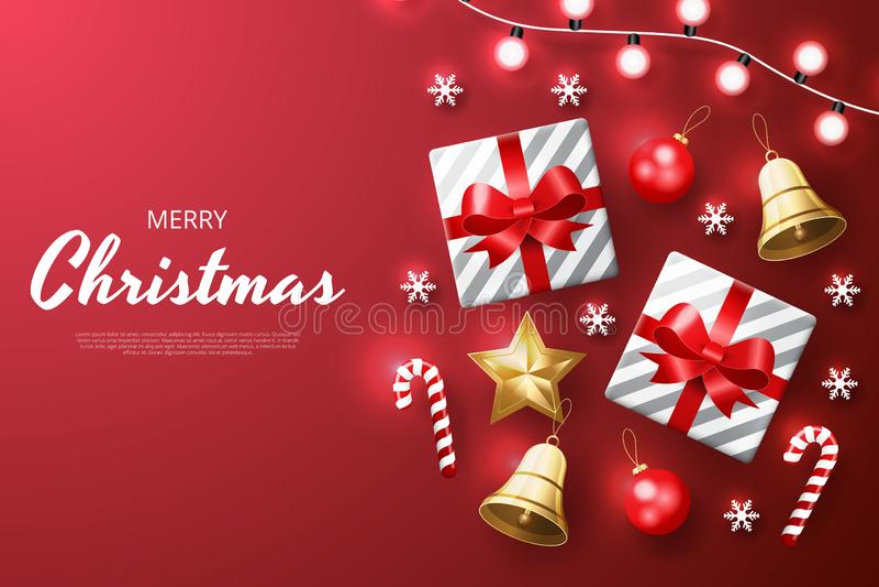 Fond de Joyeux Noël avec de l'or brillant et les ornements blancs Fond rouge illustration libre de droits