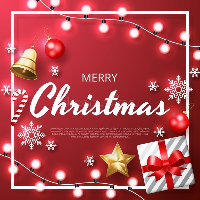 Fond de Joyeux Noël avec de l'or brillant et les ornements blancs Fond rouge illustration de vecteur