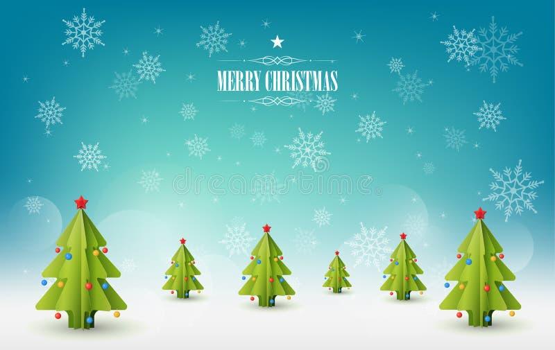 Fond de Joyeux Noël, beaucoup de pins de Noël illustration libre de droits