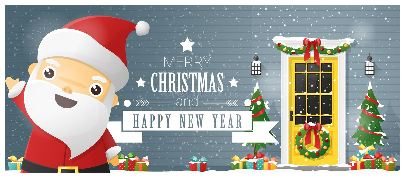 Fond de Joyeux Noël et de bonne année avec l'entrée principale et la Santa Claus décorées de Noël illustration libre de droits