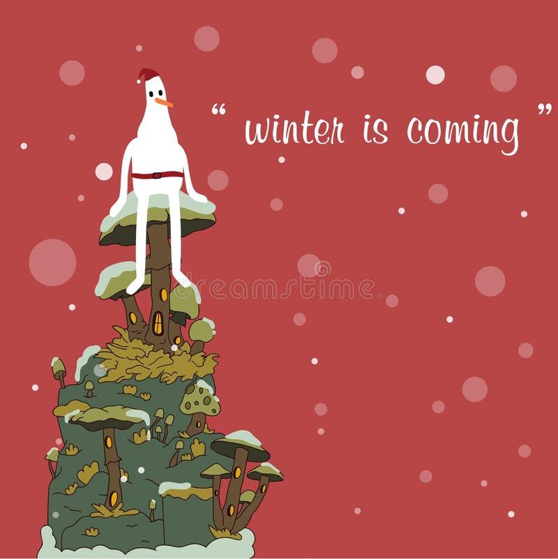 Fond de Joyeux Noël et de bonne année, bonhomme de neige et Chris illustration stock