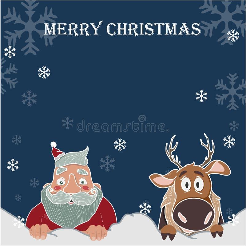 Fond de Joyeux Noël et de bonne année, Santa Claus et R illustration stock