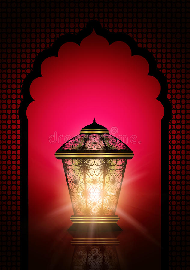 Fond de kareem de Ramadan avec les lanternes brillantes illustration stock