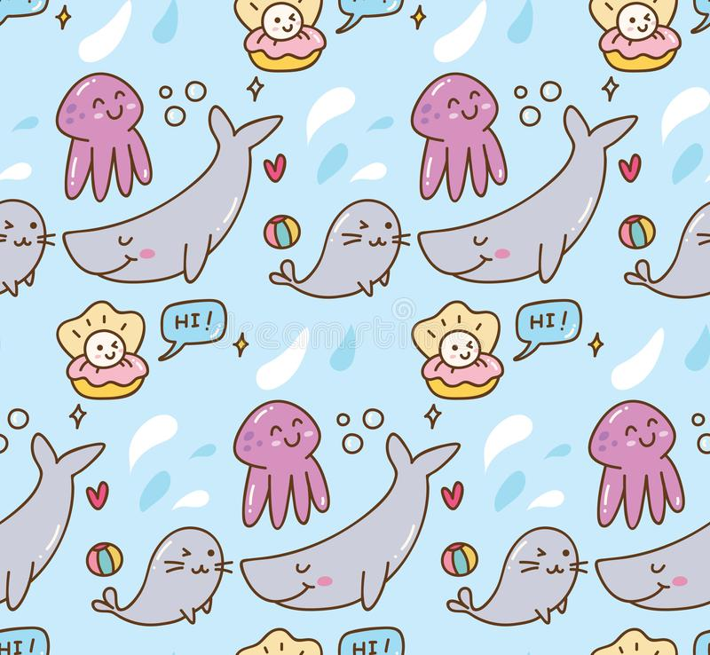 Fond de kawaii d'animal de mer illustration de vecteur