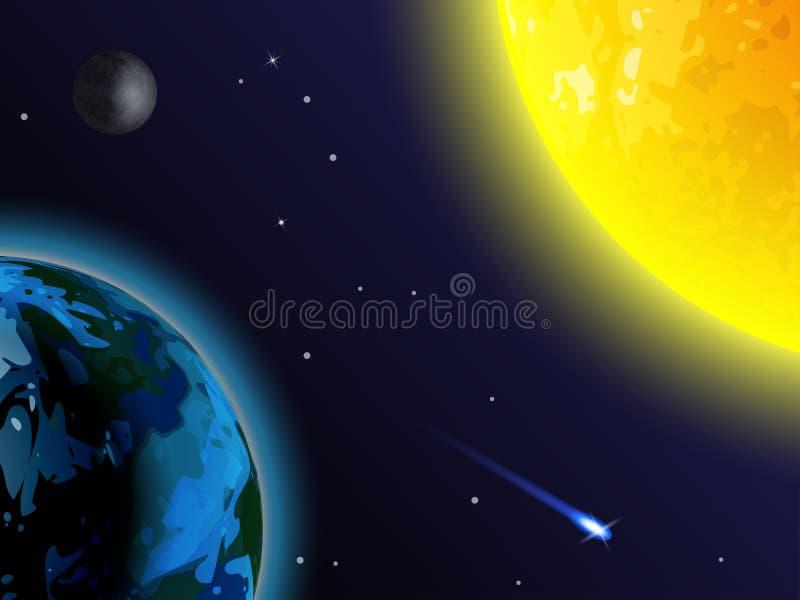 Fond de l'espace Le soleil, la terre, la lune et la comète sur un fond noir illustration de vecteur