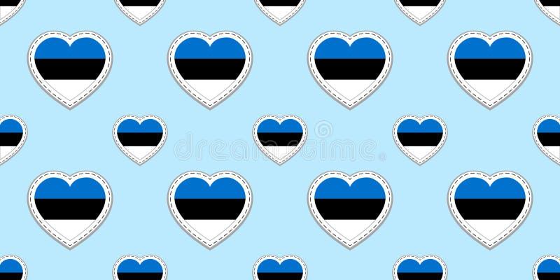 Fond de l'Estonie Modèle sans couture de drapeau estonien Stikers de vecteur Symboles de coeurs d'amour Bon choix pour des cours  illustration stock
