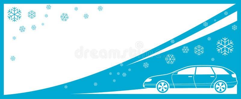 Fond de l'hiver avec le véhicule et le flocon de neige illustration stock