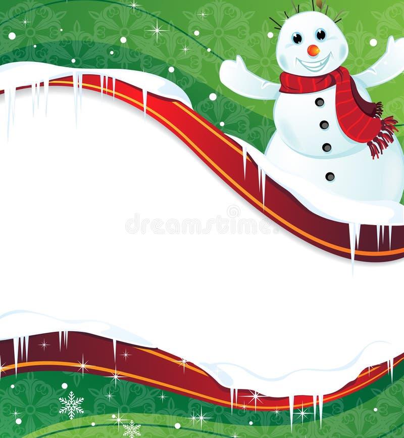 Fond de l'hiver avec un bonhomme de neige heureux illustration de vecteur