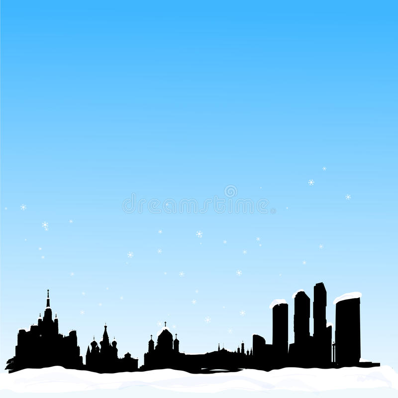 Fond de l'hiver de vecteur. Horizon de Moscou illustration stock