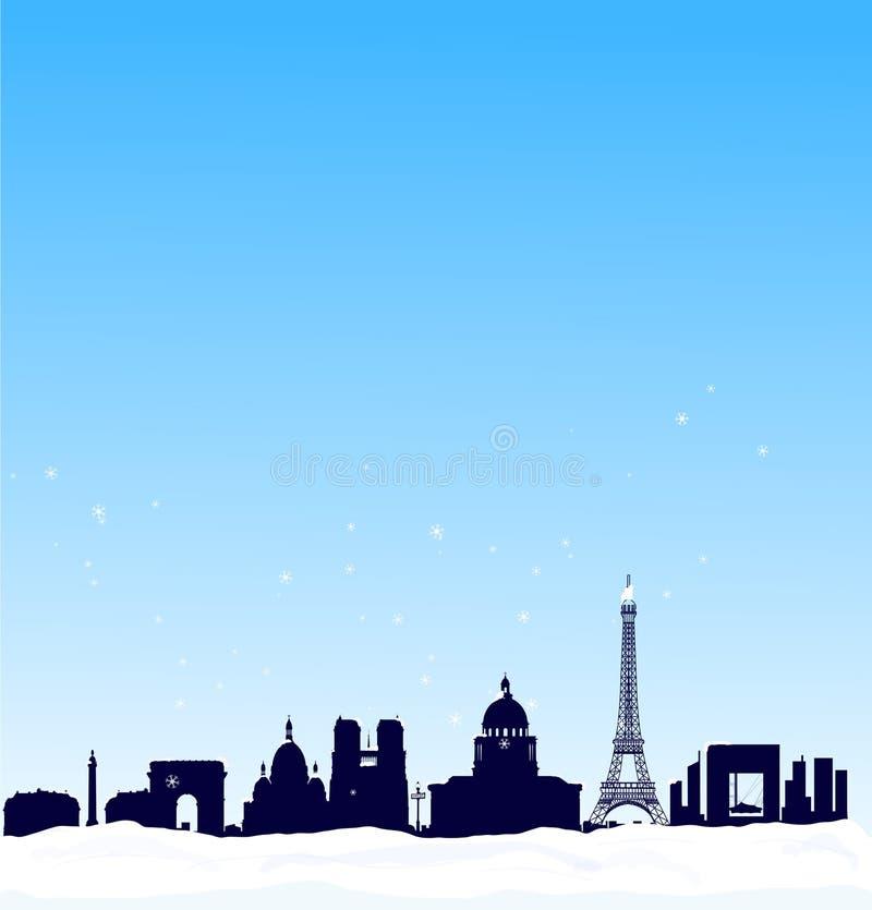 Fond de l'hiver de vecteur. Horizon de silhouette de Paris illustration libre de droits