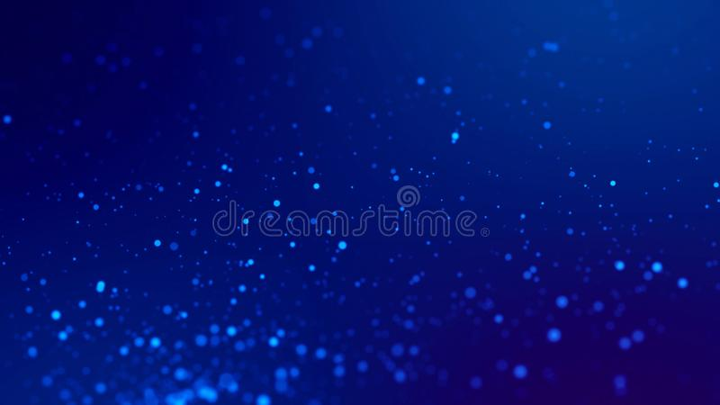 Fond de la science fiction Rougeoient les particules bleues sur le fond bleu accrochent en air pour la présentation de fête lumin illustration de vecteur