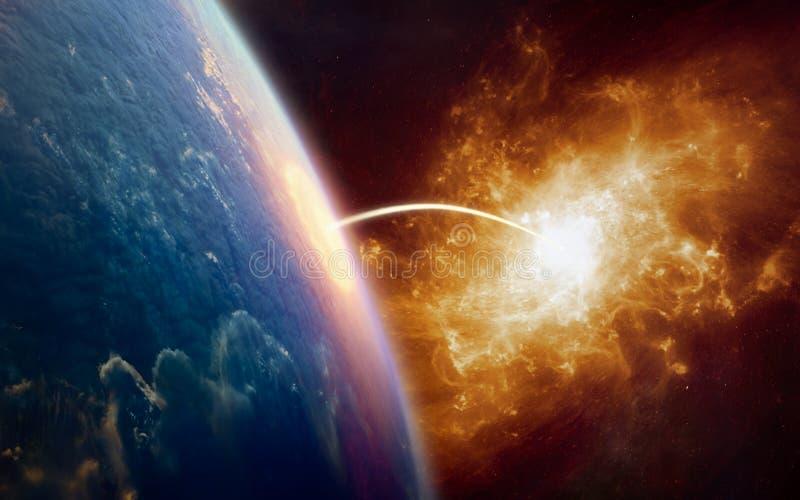 Fond de la science fiction - téléportation à un autre monde images stock