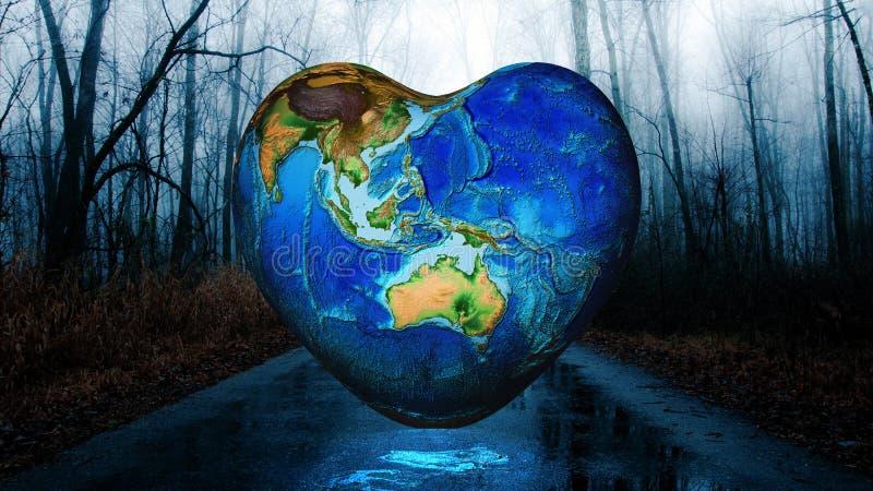 Fond de la terre de forme de coeur photo stock