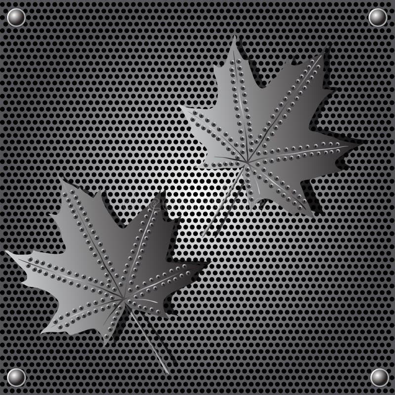 Fond de lame d'érable d'écran protecteur en métal avec des rivets illustration stock