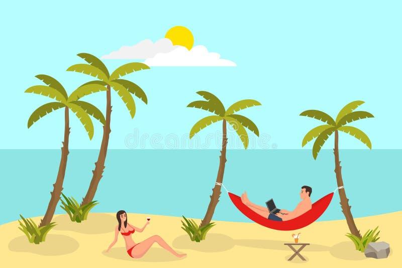 Fond de lecture de plage avec des paumes de sable Homme indépendant, travaillant et se situant par l'hamac, le soleil et le temps illustration de vecteur