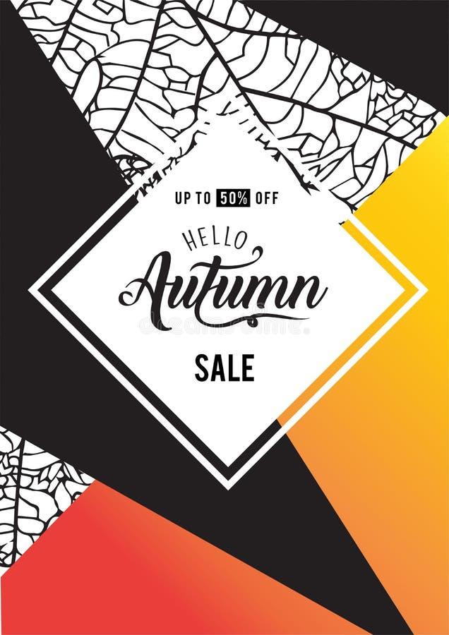 Fond de lettrage de vente d'automne AFFICHE DE PROMO DE SAISON illustration libre de droits