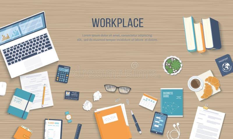 Fond de lieu de travail Vue supérieure d'une table en bois avec l'ordinateur portable, documents, bloc-notes, carte de visite pro illustration de vecteur